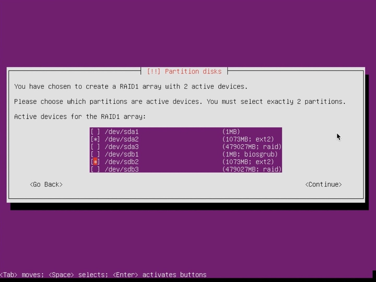 Ubuntu Server installer partition select 1gb partitions
